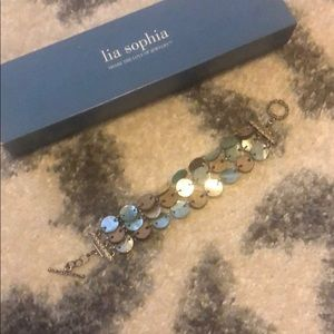 Lia Sophia fashion to teal and brown bracelet